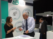Customers and visitors in our booth in IVS 2017